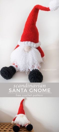 Scandinavian Santa Gnome free crochet pattern. Makes a perfect handmade gift for Christmas!   www.1dogwoof.com http://www.giftideascorner.com/gifts-for-dogs-and-dog-lovers/