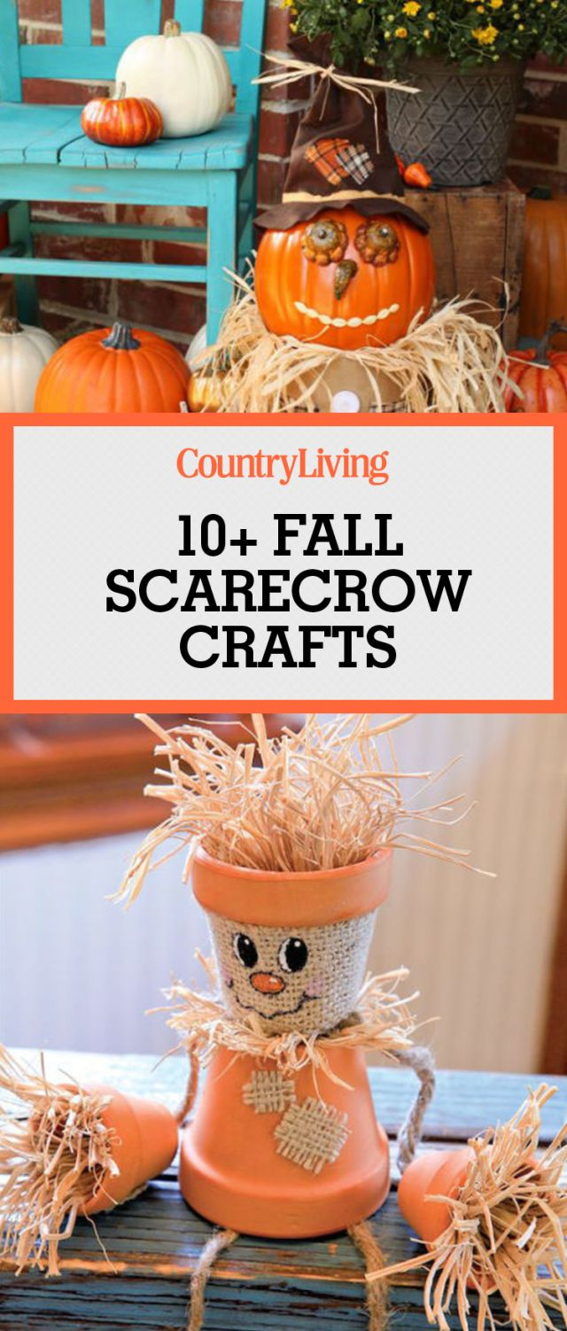 Save fall scarecrow crafts for later by pinning this image and follow Country Living on Pinterest for more.