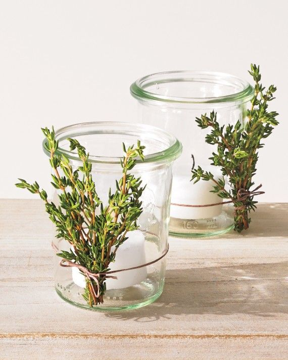 Get twiggy with it: Attach sprigs of various herbs (i.e., that bunch of rosemary you'll never actually use) to candleholders for an easy, woodsy accent.