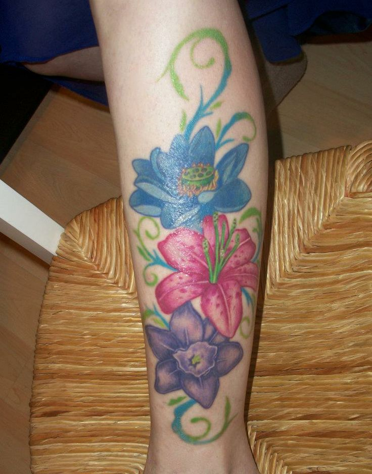 Flower Leg Tattoos: Tattoo ... My Lower Leg...flowers Without Back Outline