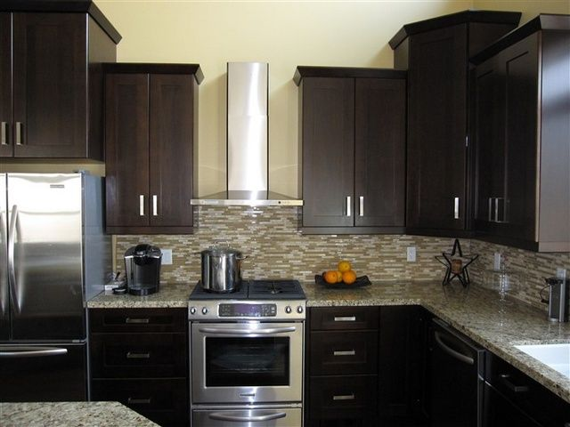 New Dark Cabinets with Brushed Nickel Hardware