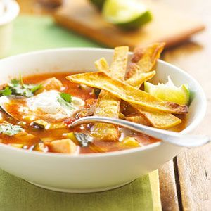 Leftover turkey can be used for Turkey Tortilla Soup!