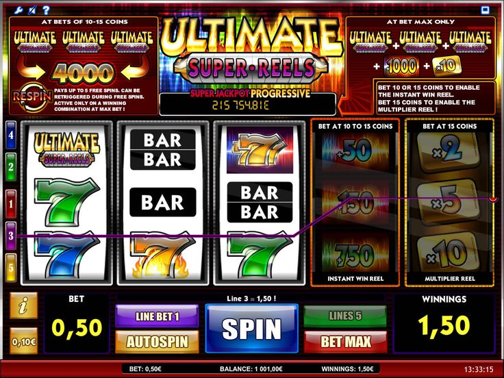 Ultimate Super Reels - http://freeslots77.com/ultimate-super-reels/ - If you still mostly prefer to play a classic-themed virtual slot game, then free Ultimate Super Reels online slot will be a great choice for you, as the game will also provide you the opportunity to hit the progressive jackpot. The five-reel and five-payline online slot machine has been...