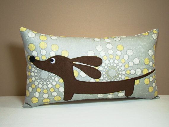 Wiener Dog Dachshund Pillow Doxie in the by persnicketypelican, $28.00
