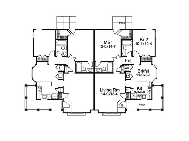 images about multifamily house plans on Pinterest   House    Ranch House Plan First Floor for Home Plan also known as the Springdale Manor Ranch Duplex from House Plans and More