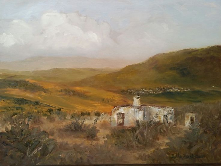 Once upon a Time by Zelda Alistoun paintings Oil on canvas 400 x 300 mm - an old modest African farmhouse overlooking the mountains now in ruins .