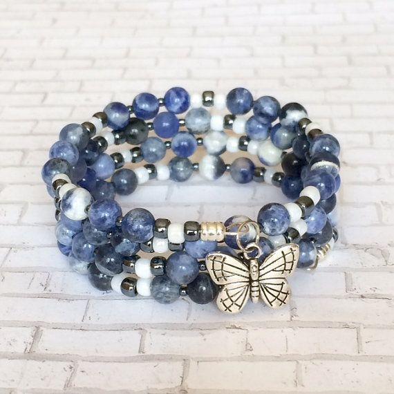 Sodalite Bracelet Blue Memory Wire Bracelet by BarbsBeadedJewelry