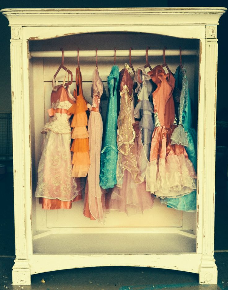 Broken dresser turned dress closet  Could be used for extra storage for all kids clothing !
