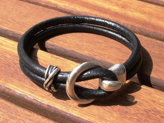 gancho de pulseras brazaletes negros pulseras para hombre
