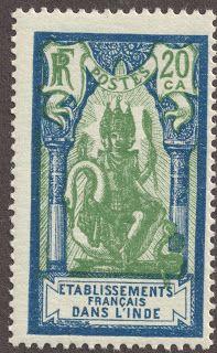 "French India 1929 20ca dark blue & green /bluish ""Brahma"""