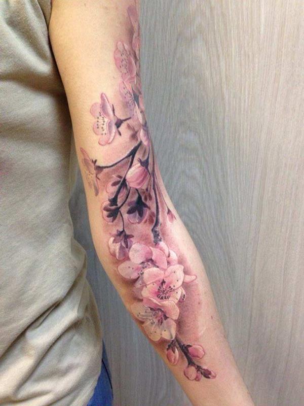 cherry blossom sleeve tattoo for women