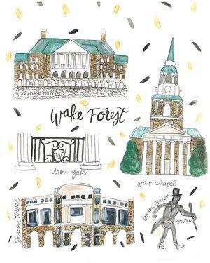 Wake Forest University College Map Print #racheltenny