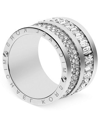 Michael Kors Silver-Tone Pave and Baguette Crystal Barrel Ring - Michael Kors - Jewelry & Watches - Macy's
