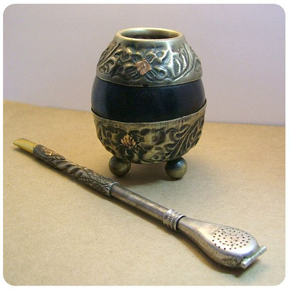 Vintage Yerba Mate Alpaca Gourd and Bombilla by onthewingsoftime