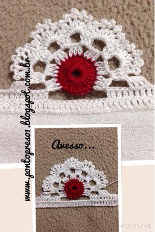 """Ponto Preso1: Croche - Barrando com pequeno """"detalhe"""" ..."""