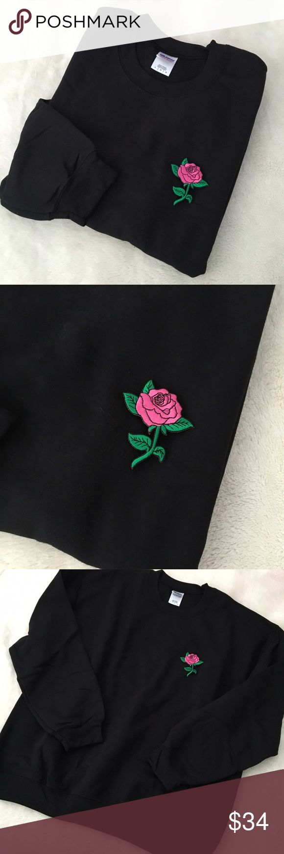 Black rose patch sweatshirt w/ pink rose unisex Black rose patch sweatshirt with pink rose  Handmade just for you! Currently out of stock, will be back soon! This crewneck sweatshirt has unisex fit with fuzzy interior. Oh so soft This sold out within minutes of posting to another site so there will be an extra 2 days processing time when ordered. Choose from S-XL. #rose #patch #embroidered #sweatshirt #crewneck #unisex #tumblr #aesthetic #spring Pixel Babe Sweaters Crewneck