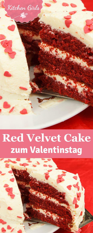 Ein Kuchen für Verliebte: Unser Rezept für den Red Velvet Cake mit einem Frosting aus Frischkäse ist das perfekte Geschenk zum Valentinstag.