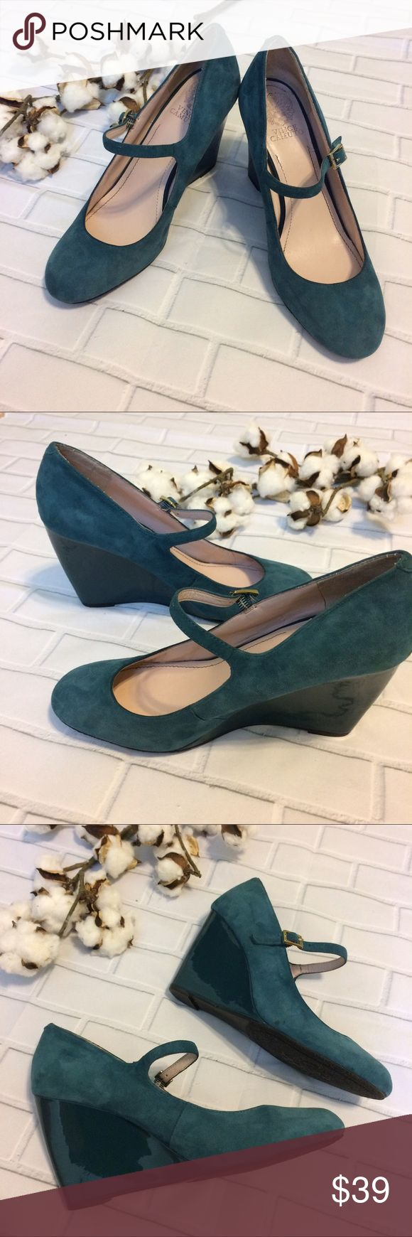 EUC Teal Vince Camuto Magie Mary Jane Suede Wedge EUC Super cute, Vince Camuto Suede Mary Jane Style Wedges. Features gorgeous teal suede upper and matching teal patent wedge and gold buckle in the strap. Very minor pulling at inside of the heels and one small nic on the left wedge. Smoke free home, fast ship. Vince Camuto Shoes