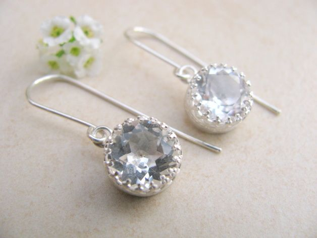 Kristall Ohrringe in Sterling Silber / chrytal earrings, silver, bridal jewellery by shefajewellery via DaWanda.com
