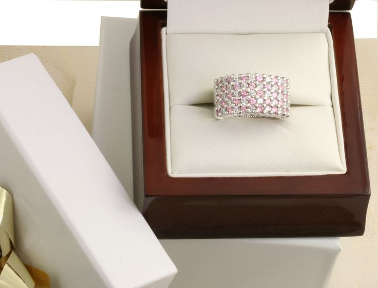 Fabulous five rows of pink sapphires and diamonds in 18ct white gold.