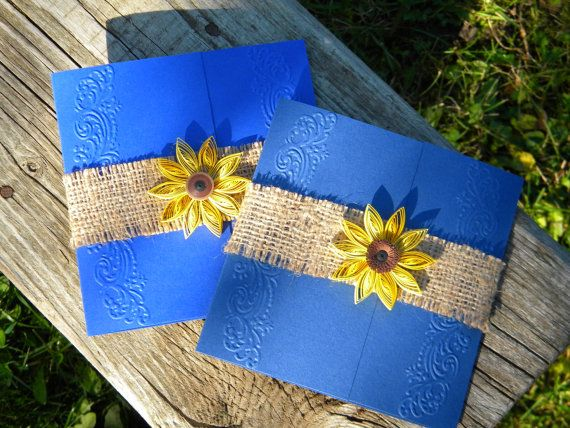 Cobalt blue and sunflower wedding invitation / by ancamilchis