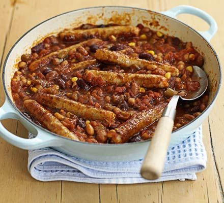 Herby bean sausage stew.  Great store-cupboard dinner, delicious made in the slow-cooker.  I added a sliced onion and a tsp of paprika, and replaced one of the mixed bean tins with canellini beans.  Gorgeous with crusty bread, may try with mash or new potatoes next time.