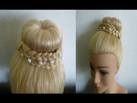 Einfache, schnelle Frisuren mit Duttkissen:Dutt mit Zöpfen.Donut Hair Bun Updo Hairstyle.Peinados - YouTube