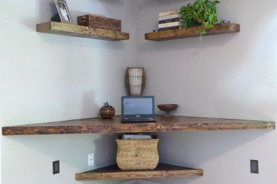 Floating Corner Desk/ Modern Corner Desk/ Floating Shelves/