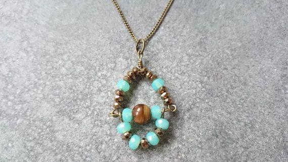 Czech beads Blue beadsHandmade jewelryMinimalistTiger by disorti