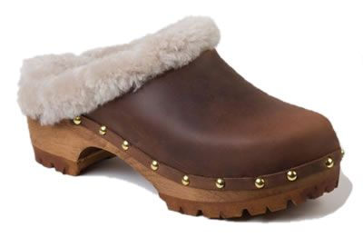 "AM-Toffeln 106 ""White Winter"" Clogs in Brown"