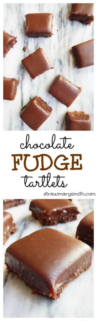 Chocolate Fudge Tartlets are little squares of chocolate graham crust topped with honey chocolate fudge. Because what's better than chocolate on chocolate? | strawmarysmith.com