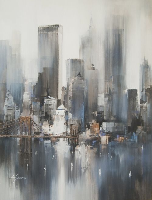 New York Heights | Artist: Wilfred Lang - http://www.breeze-gallery.co.uk/artists/wilfred-lang/twilight-towers