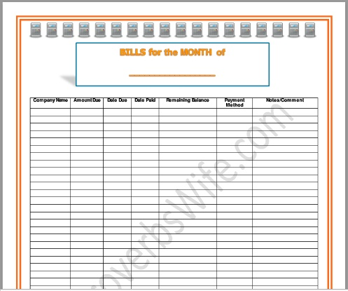 Budgeting: FREE Monthly Bill Pay Form (PDF)