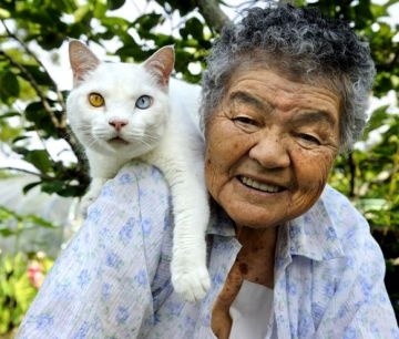 Frienship Grandma and cat with colored eyes