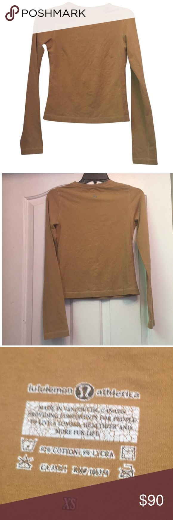 Lululemon gold long sleeve top size XS Thank you for taking the time out of your busy schedule to look at my item.  Have a great day!  Thanks!!😎 lululemon athletica Tops Tees - Long Sleeve