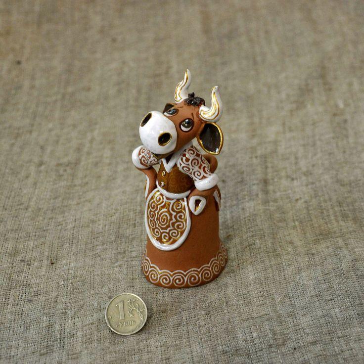 Купить Коровушка-хозяюшка, колокольчик на достаток в доме. - керамика корова, керамика колокольчик, корова колокольчик