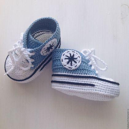 Crochet baby's bootees / Детская обувь ручной работы. Пинетки кеды. Юлия ❤️ BabyBoo. Ярмарка Мастеров. Пинетки в подарок, подарок новорожденному