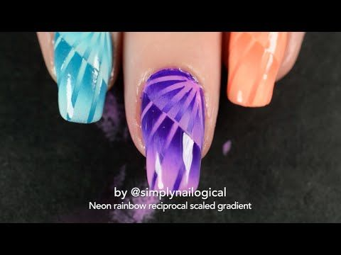Neon rainbow reciprocal scaled gradient nail art - YouTube