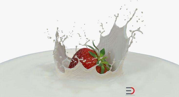 3D Strawberry Milk Splash