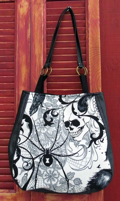 Black and White Goth, Antique, Skull and Spider Over the Shoulder Purse for sale by Canary Created at MoreThanHorror.com