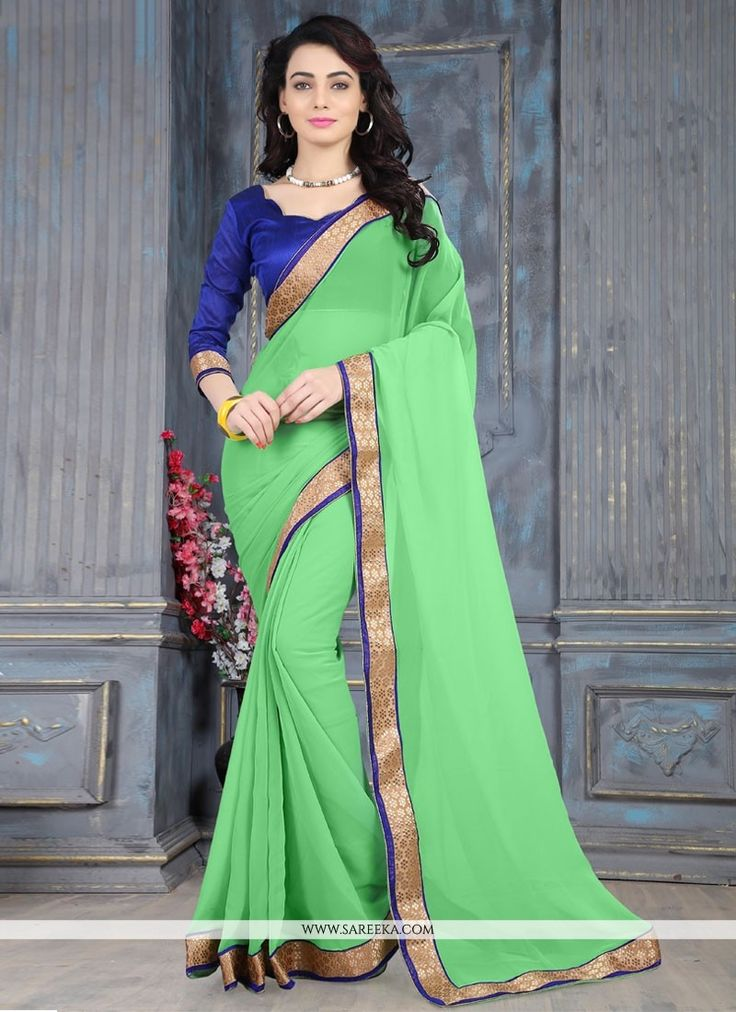 Add a vibrant burst of colour for your wardrobe with this green weight less casual saree. The ethnic lace work over a dress adds a sign of elegance statement for your look. Comes with matching blouse....