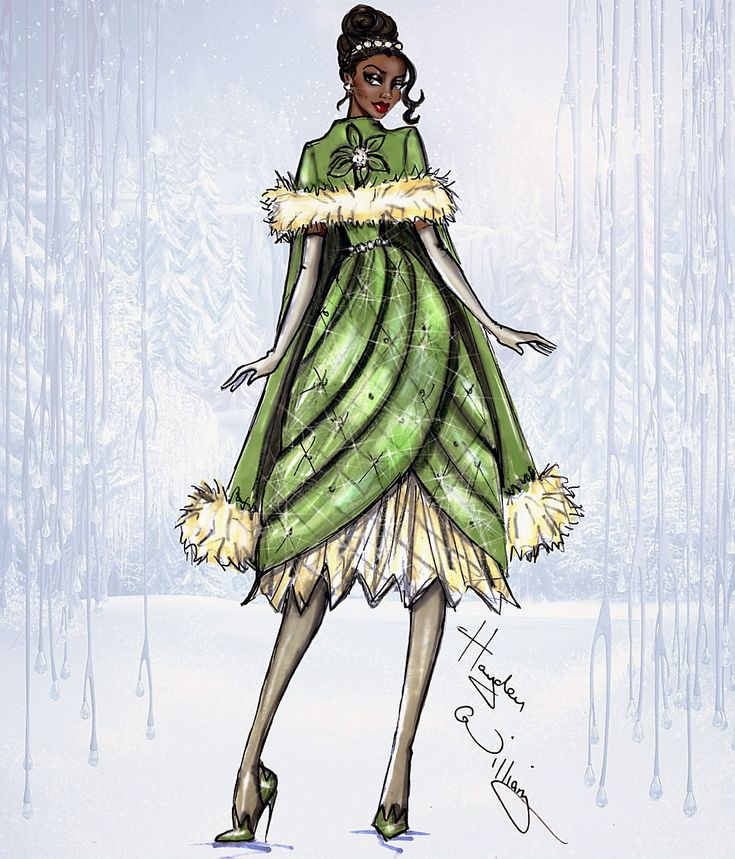 Hayden Williams Fashion Illustrations: Disney Divas 'Holiday' collection by Hayden Williams: Tiana