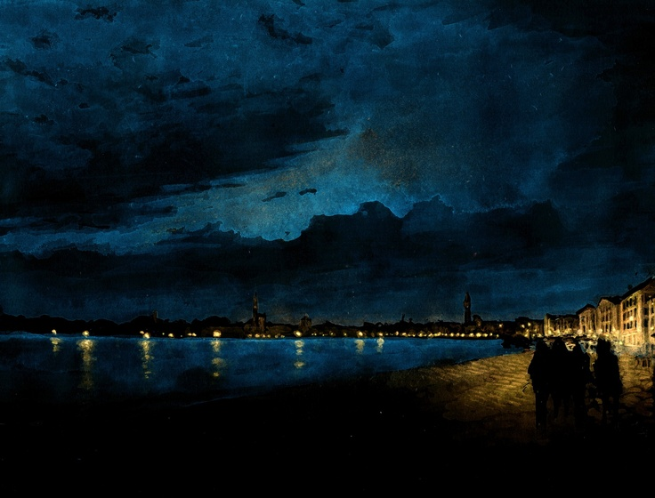 view of Venice from La Biennale  Watercolours by night