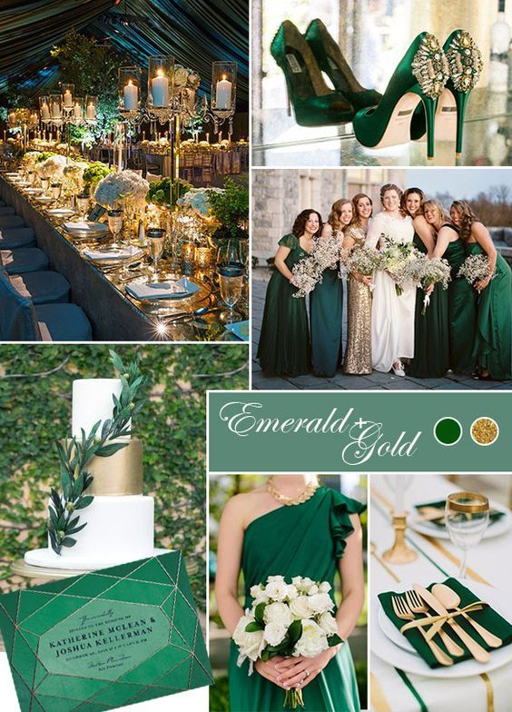 Fall Wedding Colors We're Crushing On: Emerald's rich jewel tone pairs flawlessly with metallic gold accents, creating an incredibly elegant color scheme for a fall wedding. www.colincowiewed…