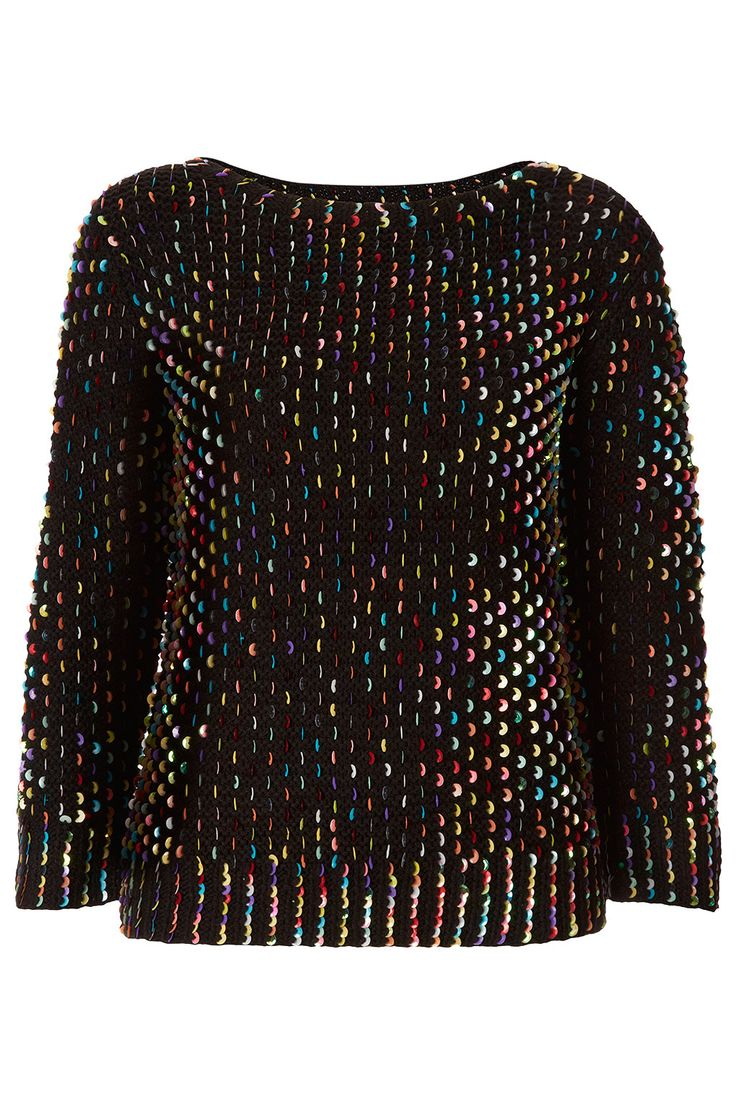 Knitted Galactic Sequin Jumper - Topshop