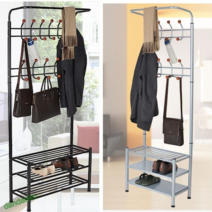 Metal Hat Coat Stand Clothes Shoes Rack Umbrella Bag Steel Stand Hanger Hooks in…