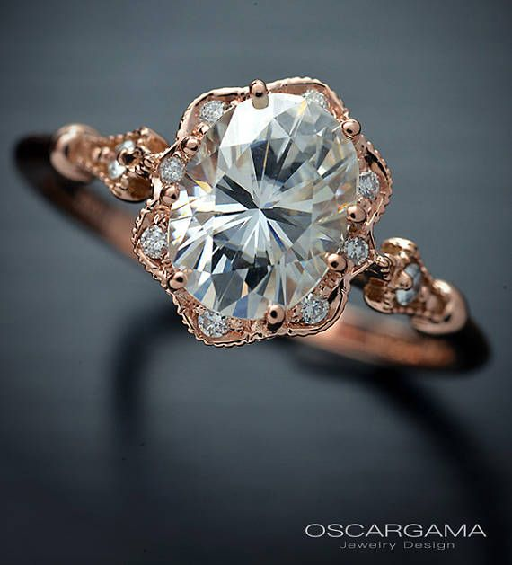 Oval Engagement ring 9x7, or 8X6 Moissanite Forever One in 14kt Pink Gold with flower halo and and accent diamonds