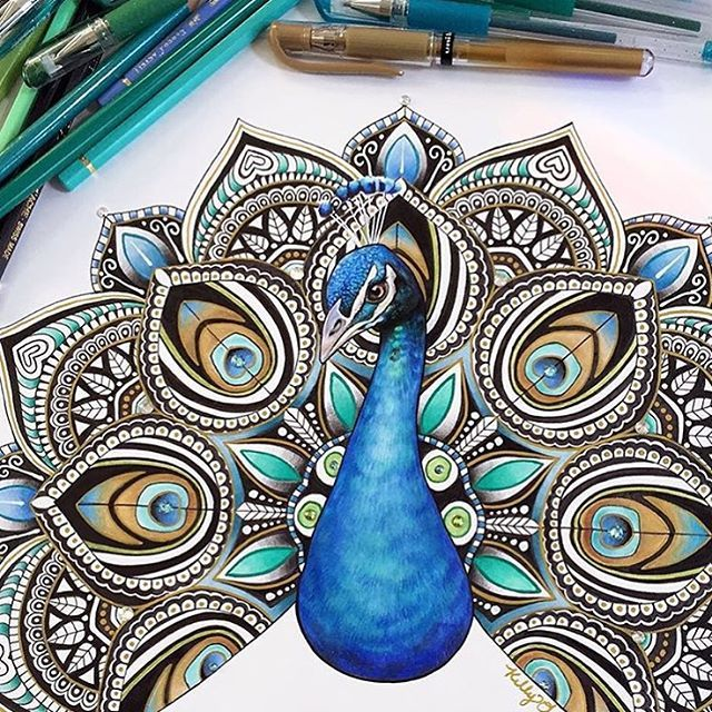 Mandala Peacock By @kellylahar - Check out @proartists for more amazing art
