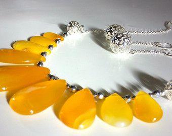 Jasper Necklace Earrings Orange Jasper Organic от GECHELINE