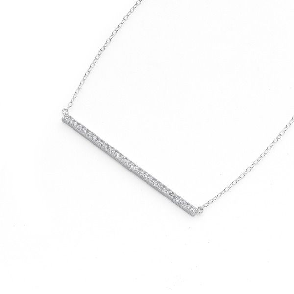 This is a Striking Sterling Silver Cubic Zirconia 45cm Bar Necklet!